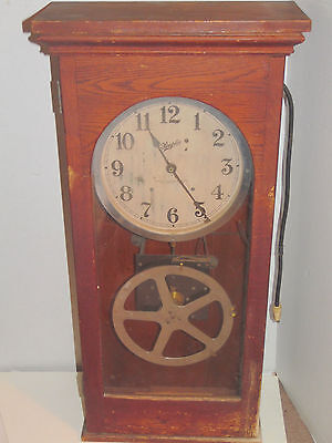 Simplex 1937 Time Recorder Oak Wall Mantel Clock With Instructions CLOCK WORKS