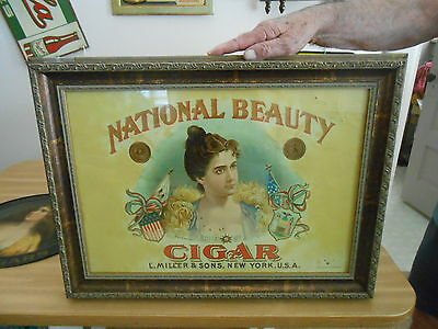 Cigar Sign National Beauty Litho on Metal ca.1890's