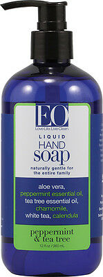 Liquid Hand Soap Peppermint & Tea Tree, EO Products, 12 oz