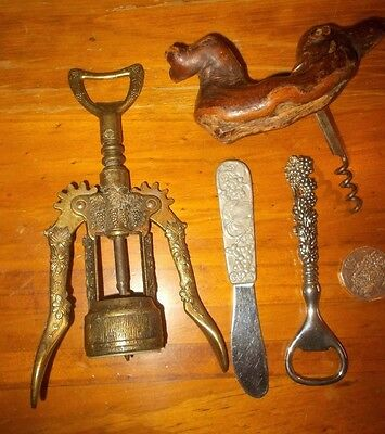 3 old bottle openers / Corkscrews,grapes & vines,vgc