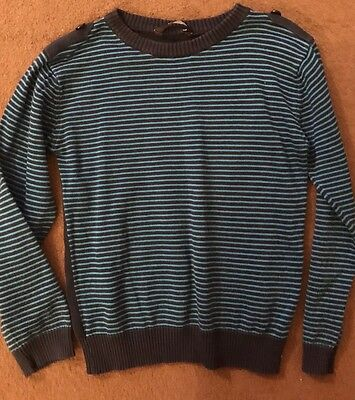 George Boys Green & Black Stripped Jumper Size 7-8 Years
