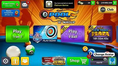 8 ball pool account with 210milliıon coins and 26 cash genuine uk seller