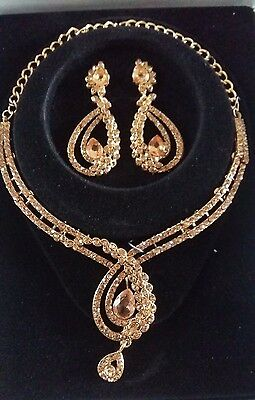 Costume Gold Jewellery Bronze Necklace Set Bollywood Indian New Style Earrings