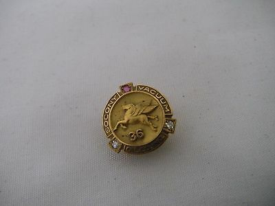 10K Solid Gold Diamond & Ruby Socony Vacuum Oil Service Pin 36 Year VERY Rare