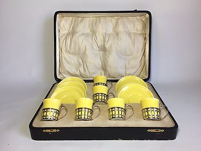 Antique 1900's Shelley Art Deco Complete 12 Piece Yellow Rare Coffee Set, Silver