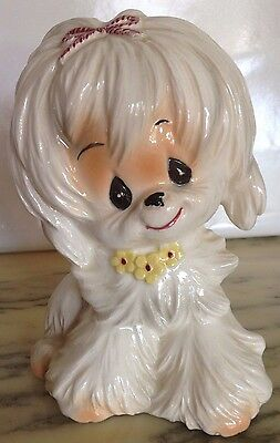 You Can Bank On This Vintage Japan Porcelain Maltese - A CUTE Coated Dog Model!