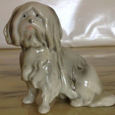 Vintage German Style Quality Porcelain Havanese - Sitting With Draping Coat!