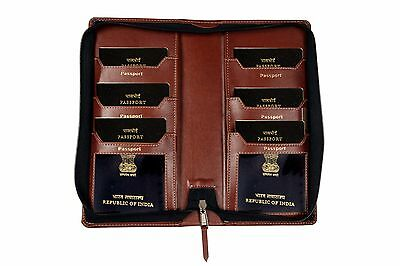 Travel Passport for 6 currency pocket 2 Case Cover Faux Leather Protector zipper