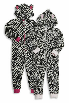Onezee Infant Childrens Girls Leopard Zebra Print Hooded All In One Jumpsuit New
