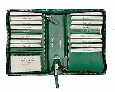 Travel Wallet Two Passports,17 card 1ID Two zip pocket 4 currency pocket Green