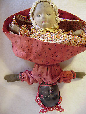 "Bruckner 1901 TOPSY -TURVY  BLACK  WHITE Cloth  DOLL 11""  Lithographed Faces"