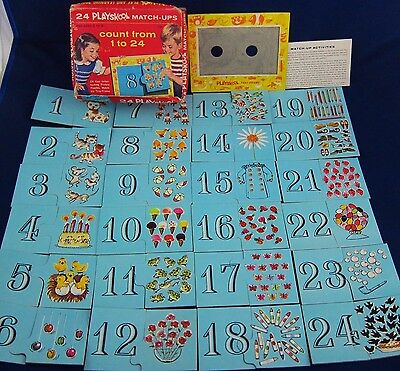 Vintage Playskool Match-Ups Tray Puzzle Counting Game Numbers 1 to 24 Complete