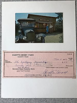 Knotts Berry Farm Poctcard and Charity Fund Check