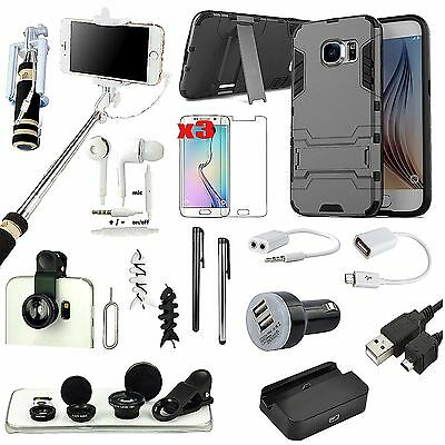 Kickstand Case Cover Charger Fish Eye Monopod Selfie Stick For Samsung Galaxy S6