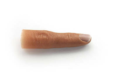 Female Finger Prosthetic w/ Natural Short Nail in Soft Silicone,Partially Hollow