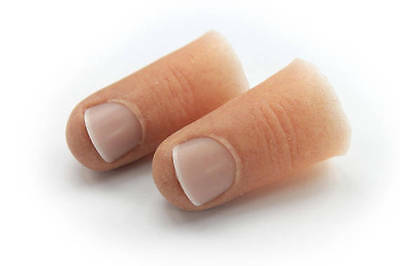 Male Finger Prosthetic Tips w/ Short Nail in Soft Silicone, Partially Hollow