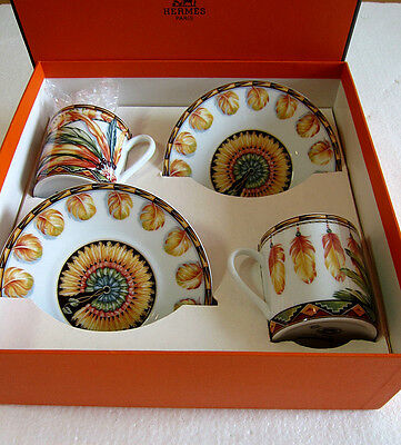 NIB Authentic HERMES 'BRAZIL~ Patchwork' 2 Set Cup and Saucer #scarf bag