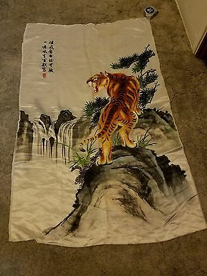 """Vintage Chinese Tiger Embroidery Silk Wall Hanging Size 29"""" X 46"""""""