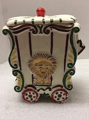 """Circus Themed Cookie Jar With Lion In Ivory 11""""x6.5""""x5"""" Kb061917"""
