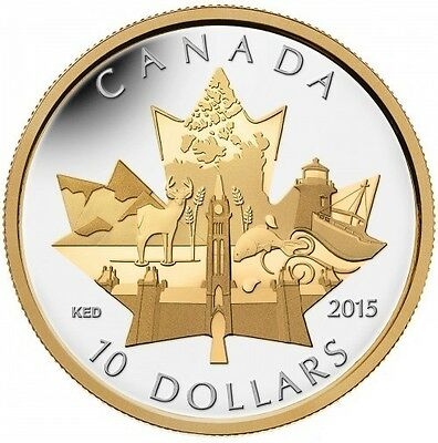Celebrating Canada 10 Dollars 2015 1/2 oz gold & silver plated coin