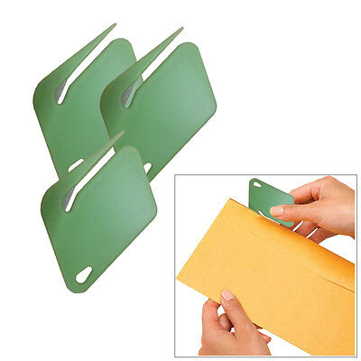 MS064- Green Plastic Letter Opener With Concealed Steel Blade (3 Pack)