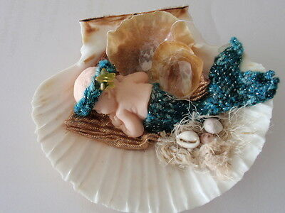 Ooak polymere mermaid in scallop shell with knitted outfit in green