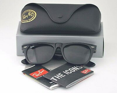 New Ray Ban RB 2140 Original Wayfarer Black Frame Glass Lens Unisex Sunglasses