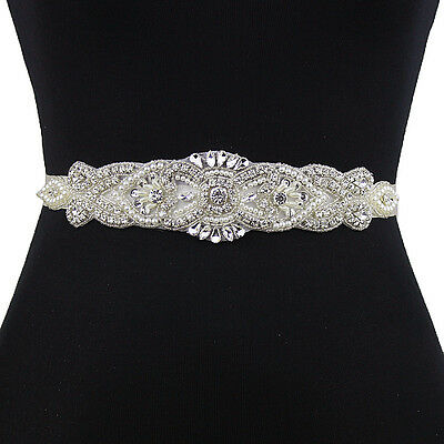 S208Bling Handmade Crystal Rhinestone Wedding Sash Belt Beads Bridal Accessories