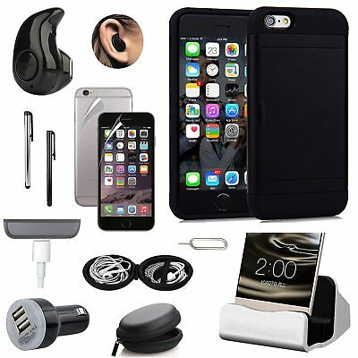 Black Pocket Case Cover Charger Bluetooth Headset Accessory Bundle For iPhone 7