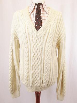 XL - Vintage 70's Mens Chunky Wool Aran Cable Knit Oversize Jumper Grunge - C525