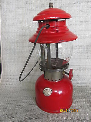 Coleman  Model 200 Red Camping Lantern-Dated 9-59 Made In Canada-Brass Tank