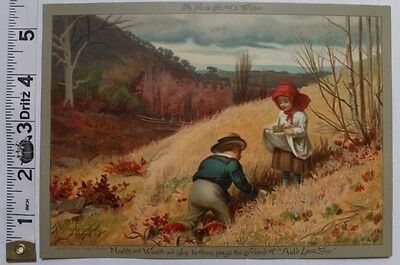 LOUIS PRANG - New Years Print, Children Picking Flowers - Antique Lithograph