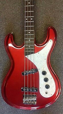 Aria DMB-01 electric bass guitar, Mosrite style,4 string,passive,candy apple red