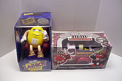 Lot of 2 M&M's Candy Dispensers Limited edition collectibles Fire truck Lazy Boy