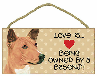 Love is ... Being Owned By a Basenji Wood Puppy Dog Sign Plaque USA Made