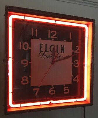 Vintage Elgin Watches Neon Clock Works Advertising