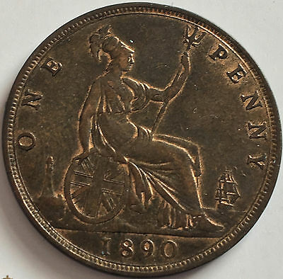 1890 Penny Uncirculated grade with traces of lustre