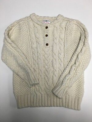 HANNA ANDERSSON Ivory Cotton Blend Button Top Cable Knit Sweater Sz 120 SM2030