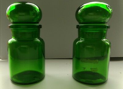Retro vintage green glass apothecary jar bubble lid SMALL