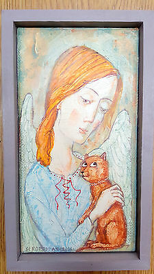 """""""Little Cat's Angel"""" original painting canvas signed by artist 4.7x10''"""