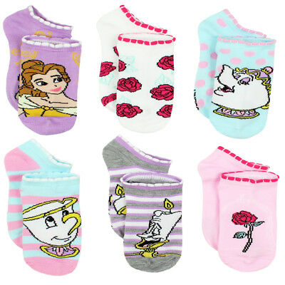 Disney Princess Belle Beauty and the Beast Girls Womens 6 pack Socks DP042GNS