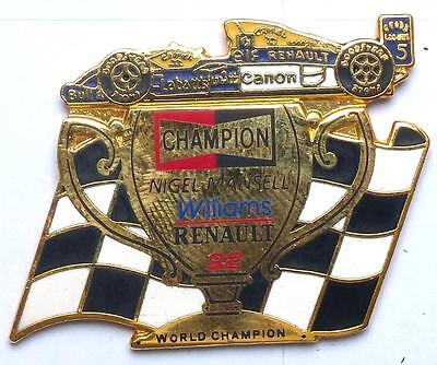 pin´s SUPERBE PINS RENAULT WILLIAMS NIGEL MANSELL DE 1992 CANON