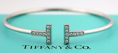 Tiffany & Co.18K White Gold & Diamond T Wire Bracelet Sz. Medium Box $3,200