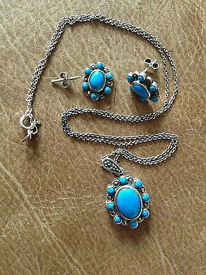 Sterling Silver Marcasite & Turquoise Coloured Stone Pendant & Earrings