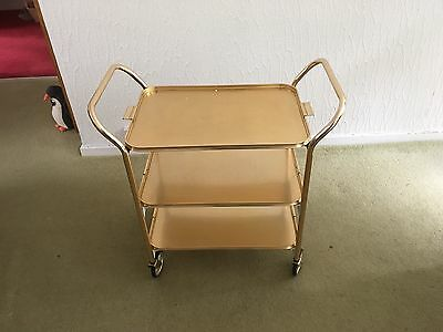 Vintage 60s/70s 3 tier Gold Hostess Trolley with wheels Cocktail hour afternoon