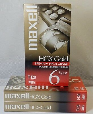 MAXELL Lot of 3 Blank VHS Tapes HGX-Gold Premium High Grade T-120 6 Hrs. New