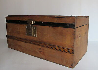 Antique Victorian Child's Wood Doll's Steamer Trunk