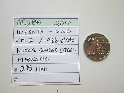 Single coin from ARUBA, 2012, 10 cents, KM 2 (1986-date), Unc.