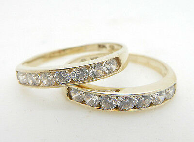 Solid 10K Yellow Gold 0.50cttw Round Cubic Zirconia Wedding Band Ring Pair Set