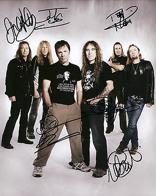 """Iron Maiden Hand Signed By All """"World Tour"""" Promo 10x8 !"""